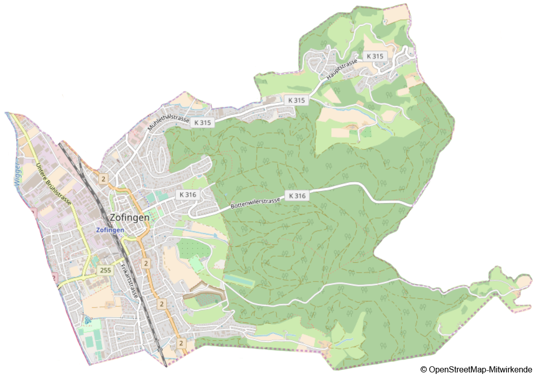 Karte der Stadt Zofingen