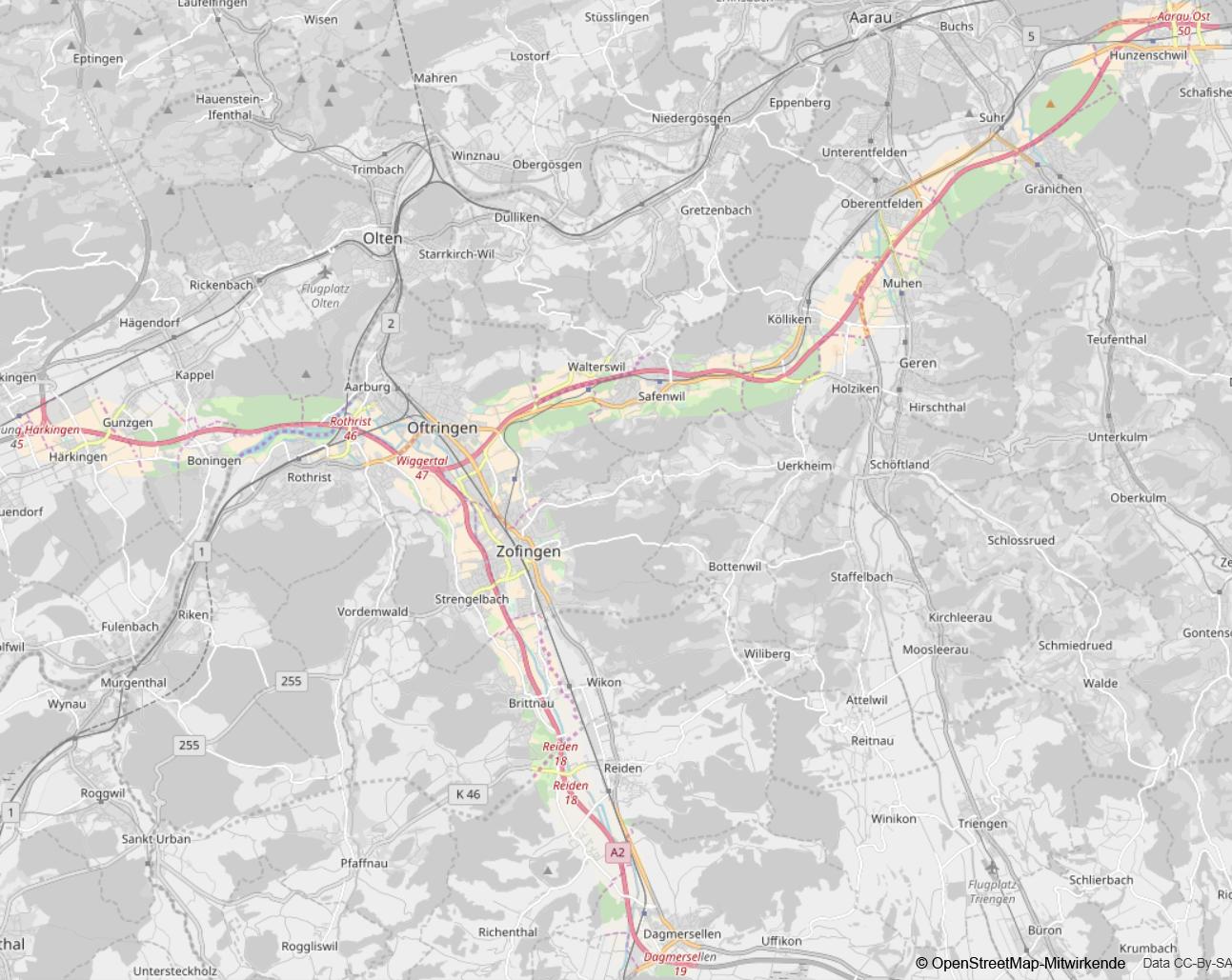 Karte Autobahnabschnitte